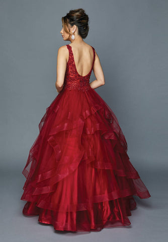 Burgundy Appliqued Bodice Quinceanera Dress V-Neck
