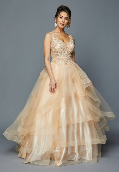 Champagne Appliqued Bodice Quinceanera Dress V-Neck