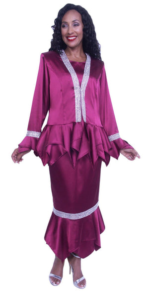 Hosanna 3940 - Burgundy Plus Size Tea Length 3 Piece Dress Set