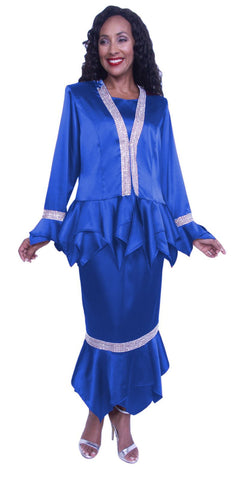 Hosanna 3940 - Royal Blue Plus Size Tea Length 3 Piece Dress Set