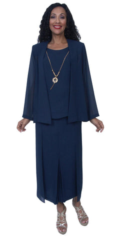Hosanna 3946 Navy Blue Tea Length 3 Piece Set Plus Size Dress