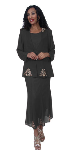 Hosanna 3949 - Black Tea Length 3 Piece Plus Size Dress Set