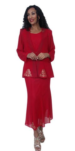 Hosanna 3949 - Red Tea Length 3 Piece Plus Size Dress Set