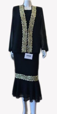 Hosanna 3950 - Black/Gold Tea Length 3 Piece Dress Set