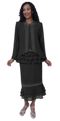 Hosanna 3953 - Black Tea Length 3 Piece Plus Size Dress Set Ruffled Top