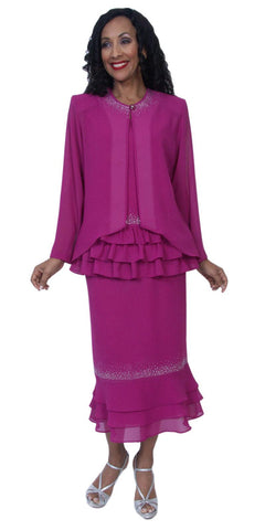 Hosanna 3953 - Magenta Tea Length 3 Piece Plus Size Dress Set Ruffled Top