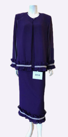 Hosanna 3954 - Plus Size Tea Length Dress Purple Rhinestone Accents