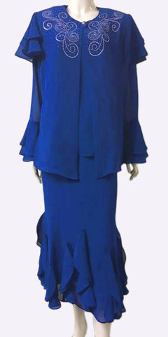 Hosanna 3955 - Tea Length Plus Size Royal Blue Dress 3 Piece Asymmetrical Hem
