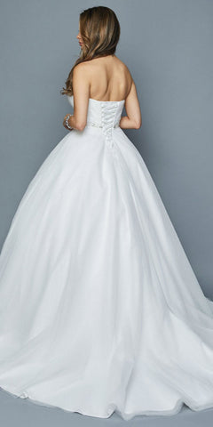 Beaded Waist Strapless Wedding Ball Gown White