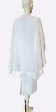 Hosanna 3962  - Plus Size Tea Length White Dress 3 Piece Jacket Cape Back View