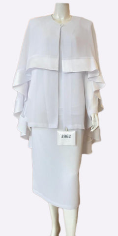 Hosanna 3962  - Plus Size Tea Length White Dress 3 Piece Jacket Cape