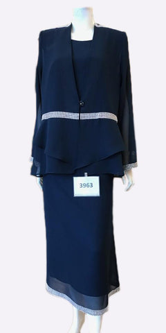 Hosanna 3963 - Tea Length Plus Size Navy Blue Dress 3 Piece