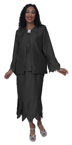 Hosanna 3965 Black Tea Length 3 Piece Set Plus Size Dress