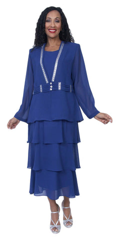 Hosanna 3969 Royal Blue Tea Length 3 Piece Plus Size Dress Set Tiered Skirt