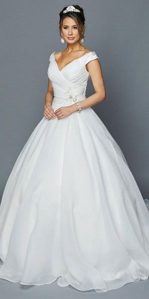 Lace-Up Back V-Neck Wedding Ball Gown White