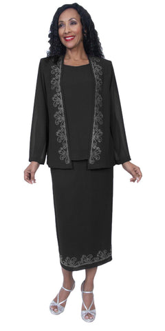 Hosanna 3984 - Plus Size Tea Length Dress Black Rhinestone Accents 3 Piece Set