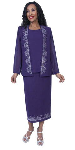 Hosanna 3984 - Plus Size Tea Length Dress Purple Rhinestone Accents 3 Piece Set