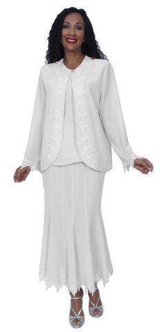 Hosanna 3987 - Modest Tea Length Plus Size Dress White Includes Jacket 3 Piece