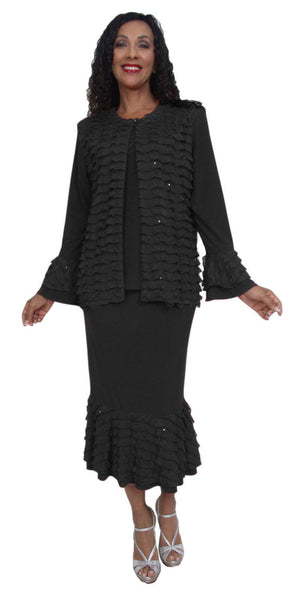 Hosanna 3988 Black Plus Size 3 PC Set Dress Modest Tea Length Jacket Top