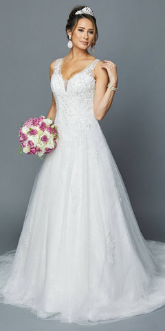 A-Line Appliqued Long Wedding Dress White
