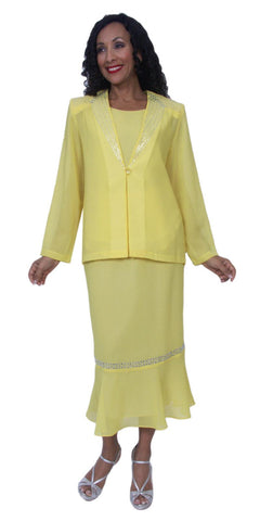 Hosanna 3991 Plus Size 3 Piece Set Yellow Tea Length Dress Lace
