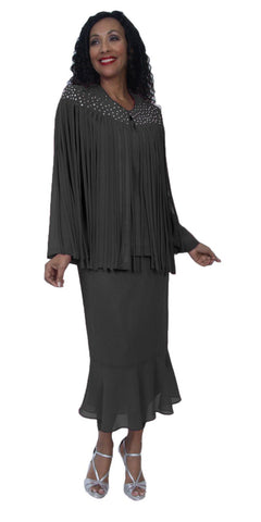 Hosanna 3993 - Tea Length Plus Size Black Dress 3 Piece