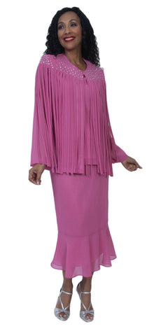 Hosanna 3993 Plus Size 3 Piece Set Hot Pink Tea Length Dress