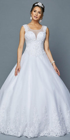 Sleeveless Wedding Ball Gown Cut-Out Back White