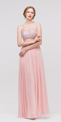 Floor Length Chiffon Dusty Pink Gown A Line Sleeveless Beaded Top