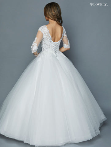 White Quarter Sleeves Wedding Ball Gown V-Neck