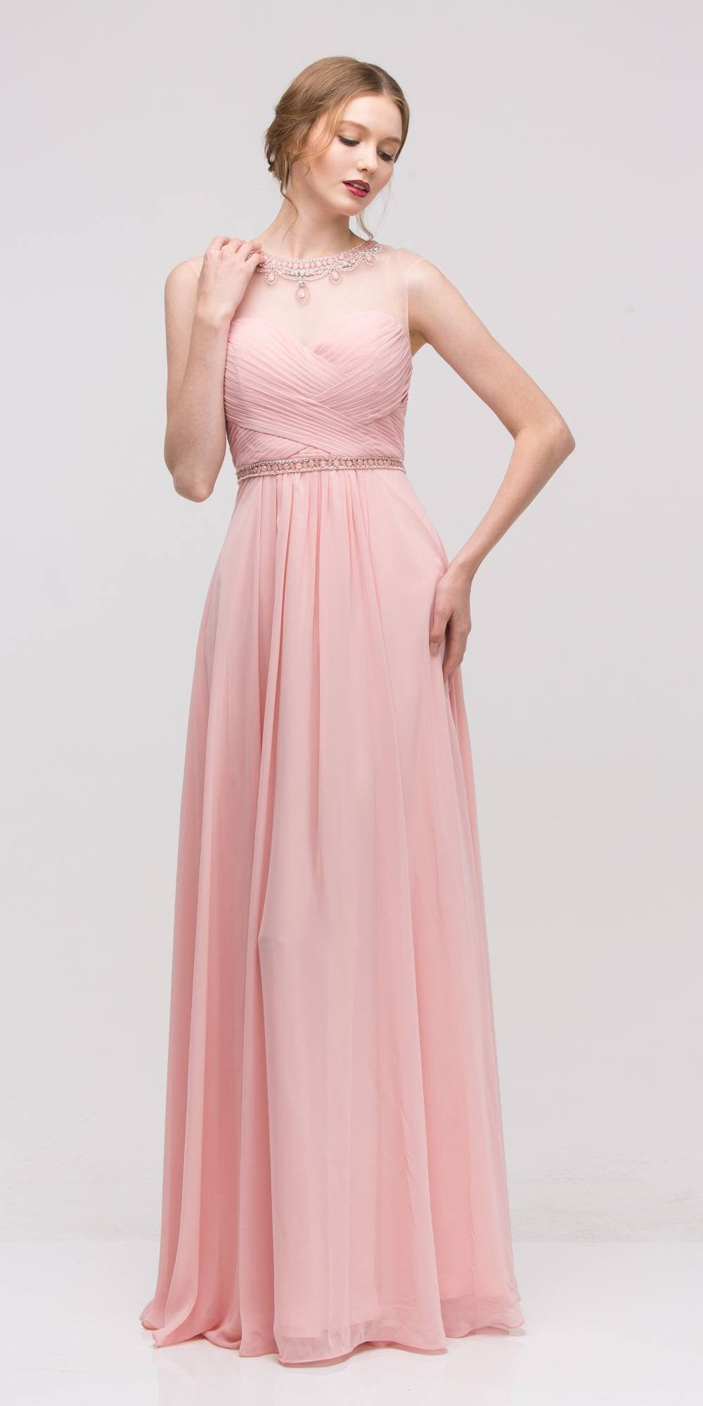 Dusty Pink Sleeveless A-line Prom Gown Illusion Beaded Neckline