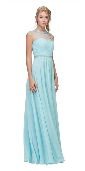 Eureka Fashion 4011 Baby Blue Sleeveless A-line Prom Gown Illusion Beaded Neckline