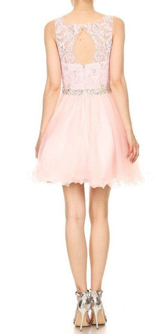 Embellished Waist Blush Homecoming Short Dress