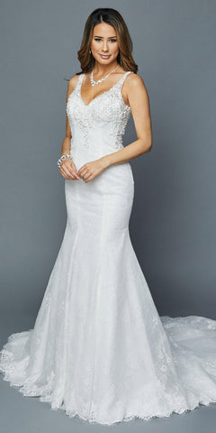 Long Mermaid Style White Wedding Gown with Train