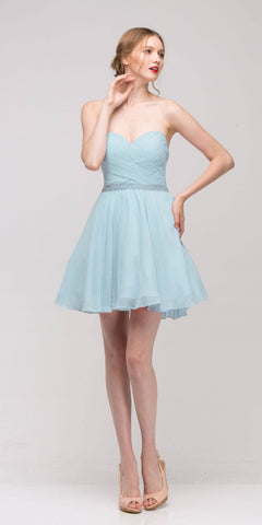 Baby Blue Strapless Embellished Waist Short Homecoming Dress