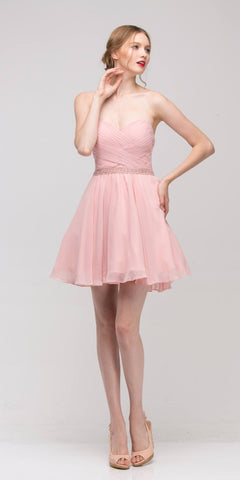 Dusty-Pink Strapless Embellished Waist Short Homecoming Dress