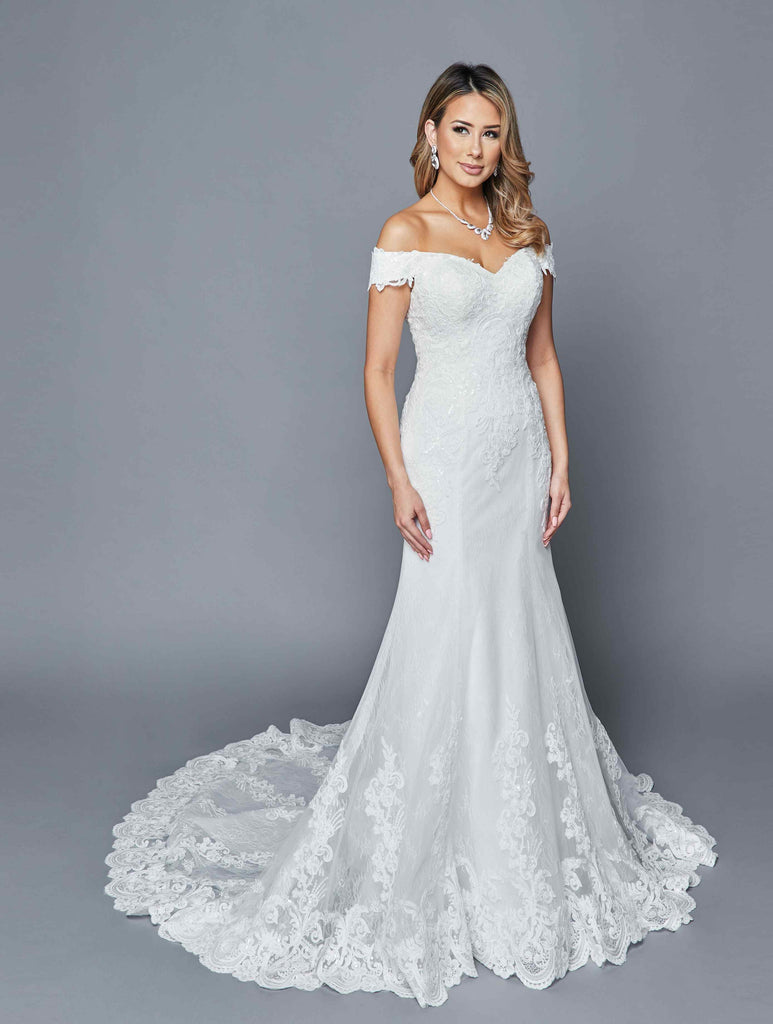 Lace Appliqued Off-Shoulder Long Wedding Dress White