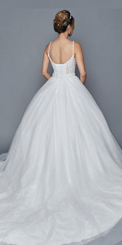 White Wedding Ball Gown with Chapel Train