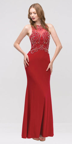 Grecian Inspired Gown Red Floor Length Illusion Neck Beads