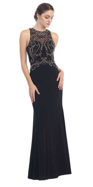 Grecian Inspired Gown Black Floor Length Illusion Neck Beads