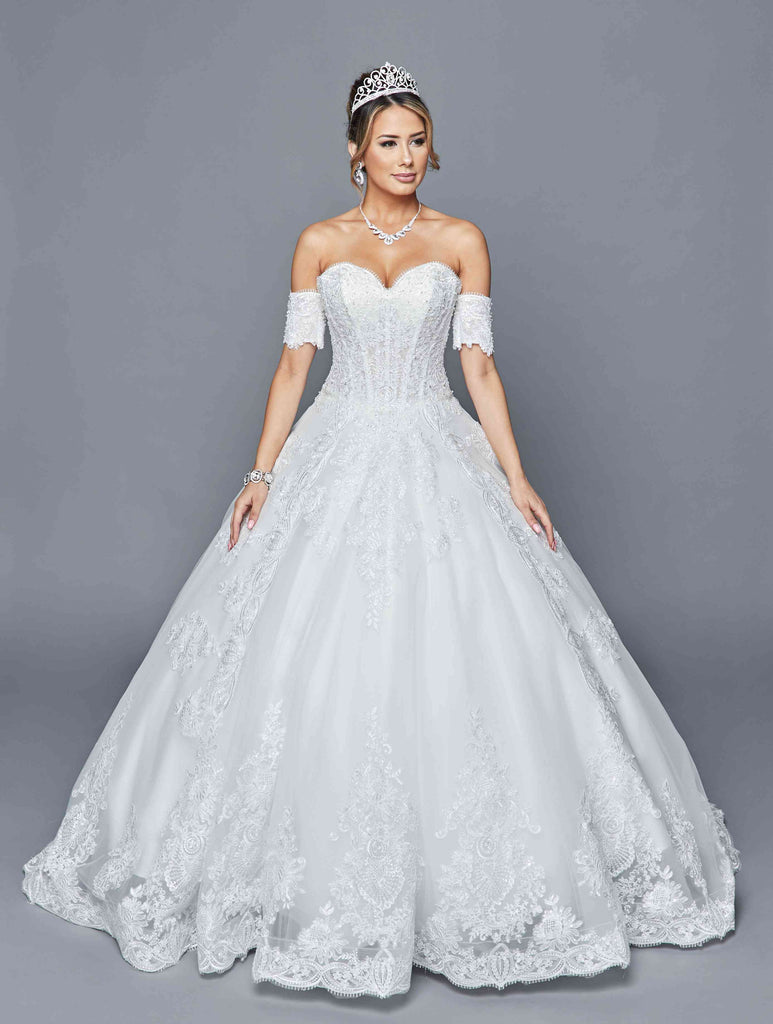 Sweetheart Neckline White Wedding Ball Gown Off-Shoulder