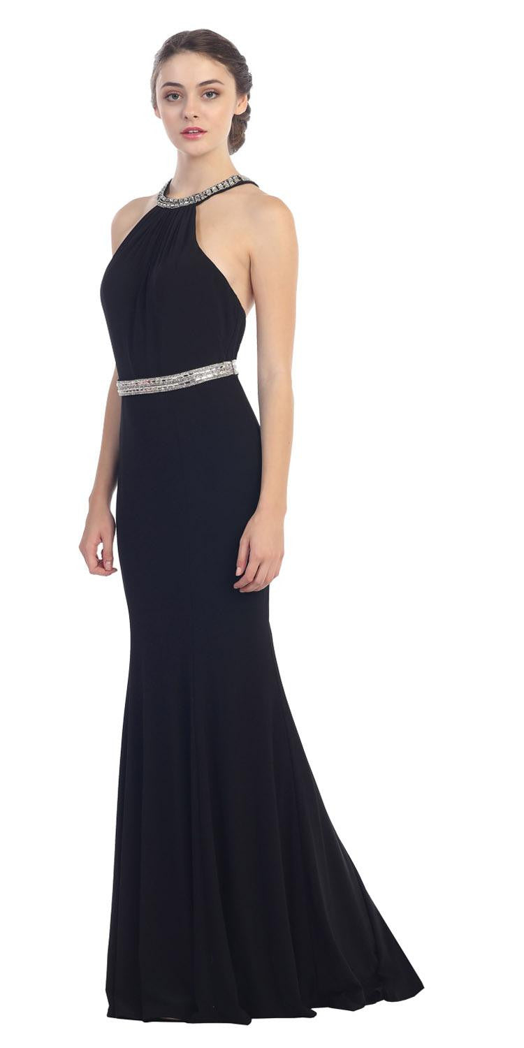 a35654aebd1 Black Halter Jeweled Neck And Waist Open Back Jersey Long Prom Dress