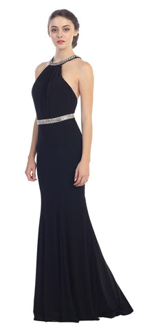 Black Halter Jeweled Neck and Waist  Open Back Jersey Long Prom Dress