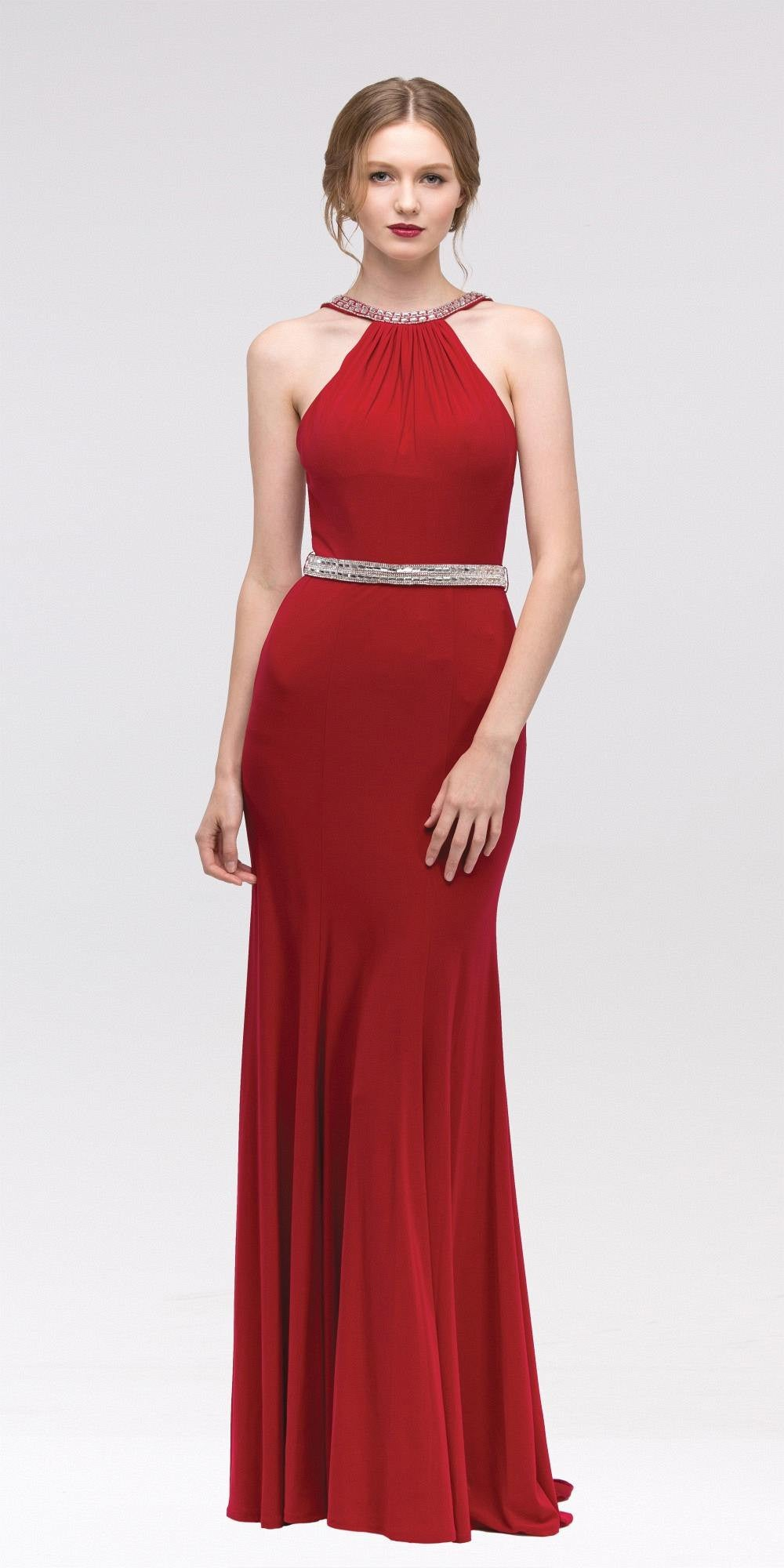 ... Red Halter Jeweled Neck and Waist Open Back Jersey Long Prom Dress ... 466965bc5