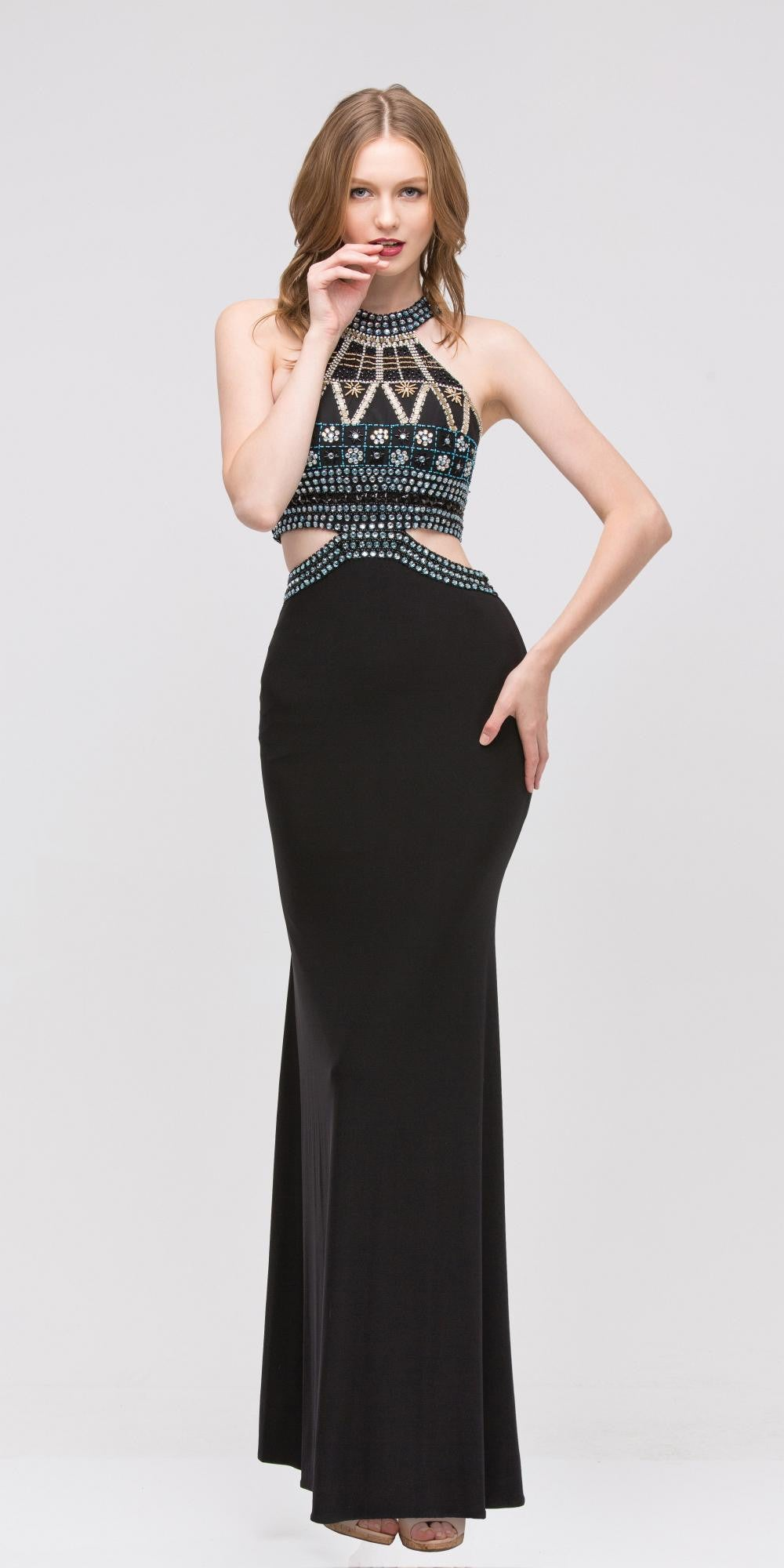 f73fc05d9334 Long High-Neck Beaded Halter Prom Dress Cut-Out Waist Black. Tap to expand