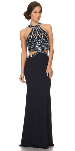 Long High-Neck Beaded Halter Prom Dress  Cut-Out Waist Navy Blue