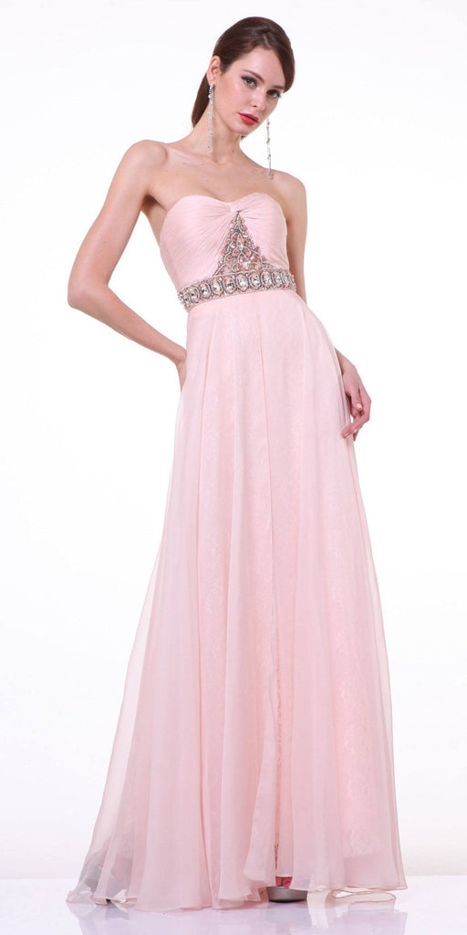 Cinderella Divine 4079 Blush Strapless Jeweled Ruched Bodice Chiffon Prom Dress Long