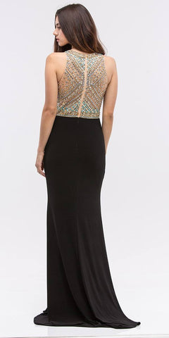 Black Beaded Bodice Mermaid Jersey Skirt Long Prom Dress