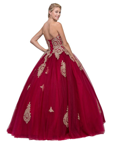 Burgundy Strapless Appliqued Quinceanera Dress with Bolero