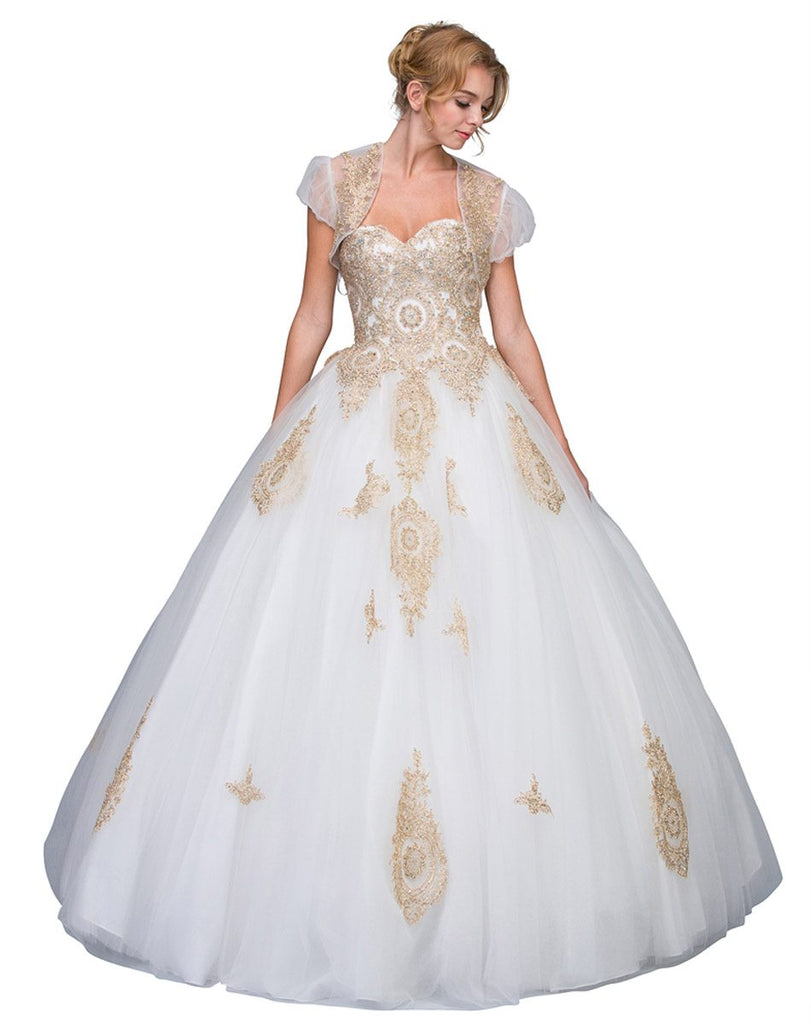 Ivory Strapless Appliqued Quinceanera Dress with Bolero